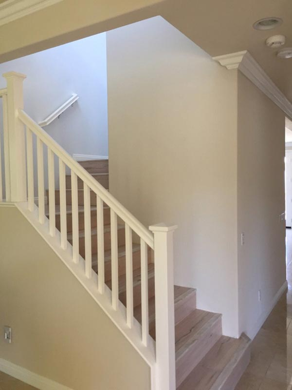 Replaced drywall on stairwell