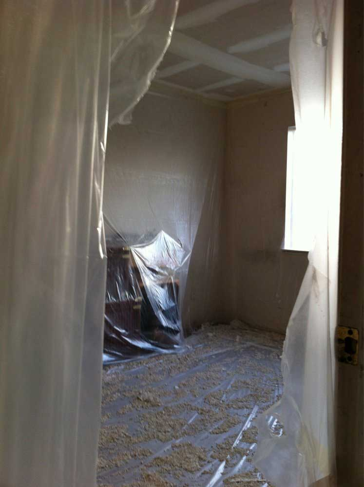 tape everything before removing popcorn ceiling